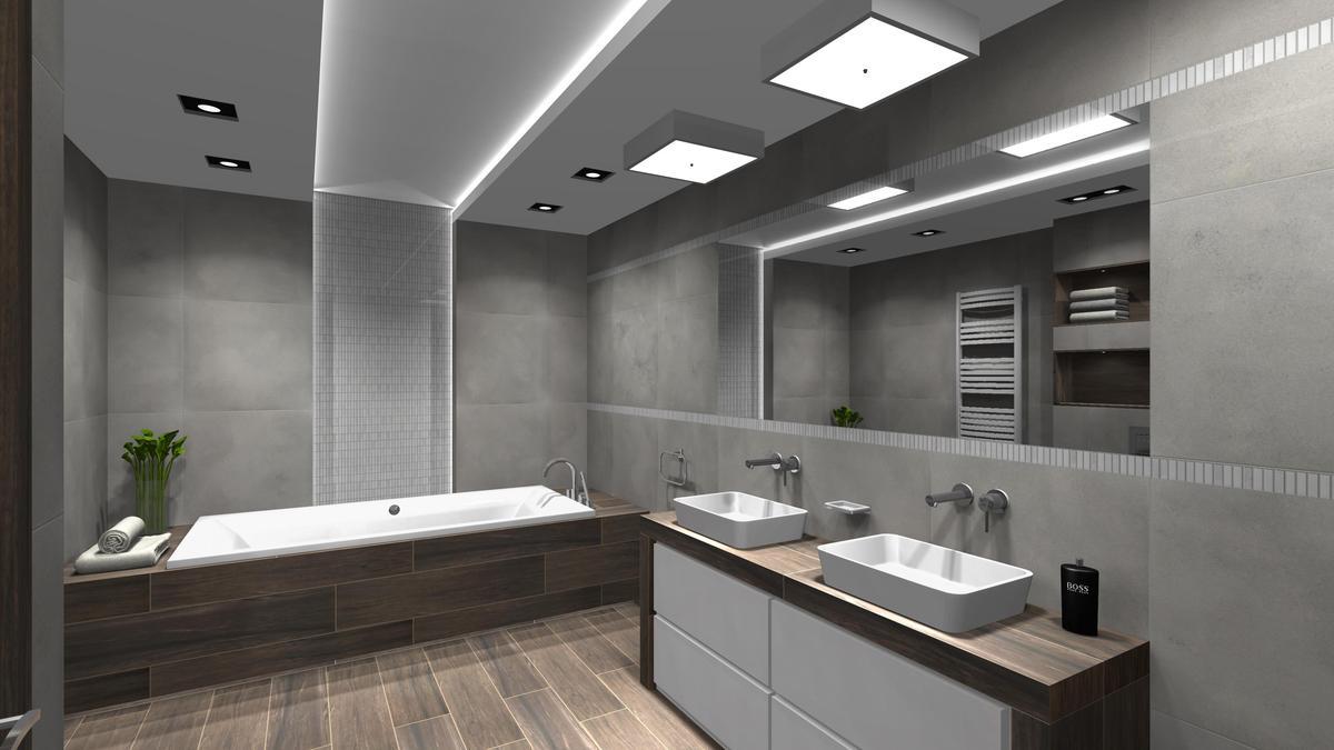 Duża łazienka w industrialnym stylu - zdjęcie od BLU salon łazienek Cieszyn