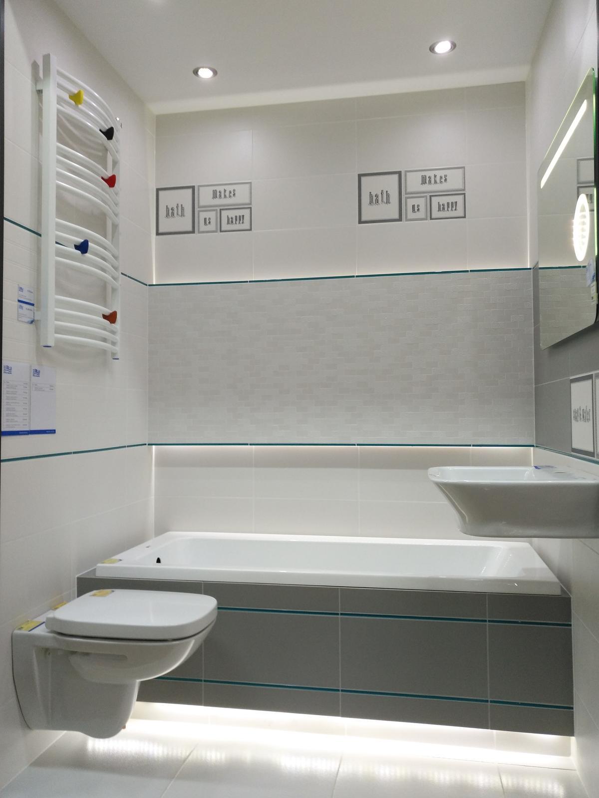 Ekspozycja łazienki w kolekcji płytek Domino Grafite - zdjęcie od BLU salon łazienek Dębica