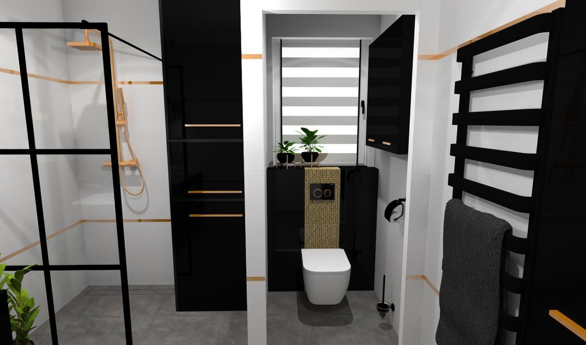 Elegancka łazienka z czarnymi i złotymi elementami - zdjęcie od BLU salon łazienek Bielsko-Biała