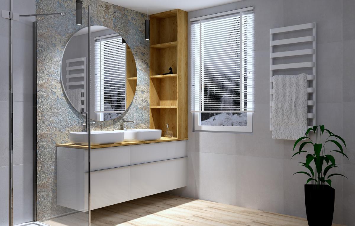 Elegancka łazienka z elementami drewna - zdjęcie od BLU Salon Łazienek Tarnobrzeg