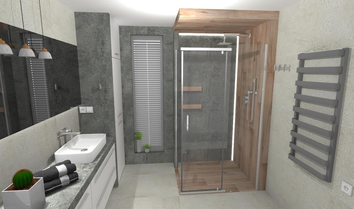 Elementy drewna w małej łazience - zdjęcie od BLU salon łazienek Bielsko-Biała