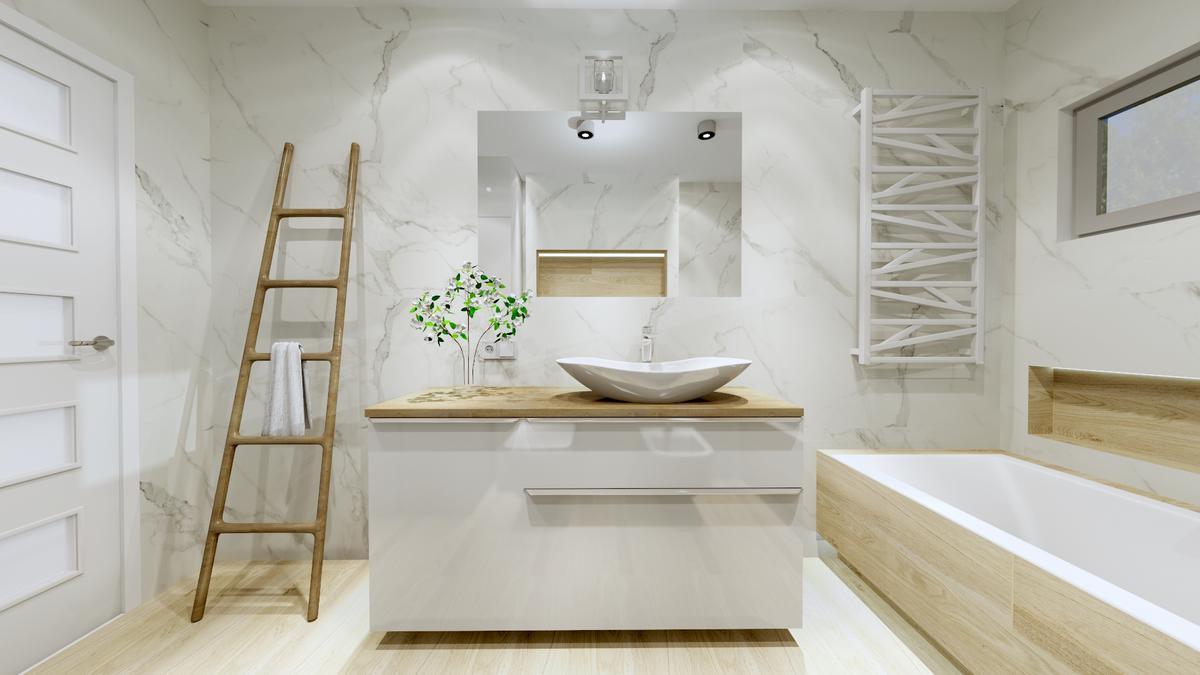 Imitacja białego marmuru w kolekcji Pietrasanta od Tubądzin - zdjęcie od BLU salon łazienek Ostrowiec Świętokrzyski
