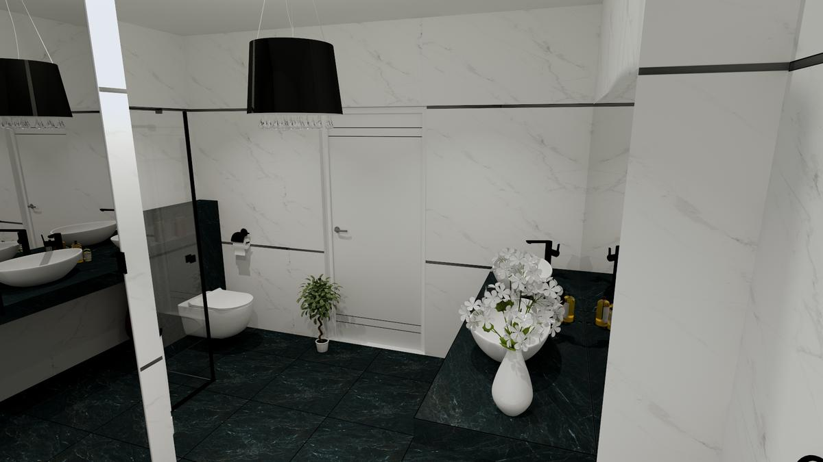 Jasna łazienka z dodatkiem ciemnej zieleni - zdjęcie od BLU salon łazienek Chełm
