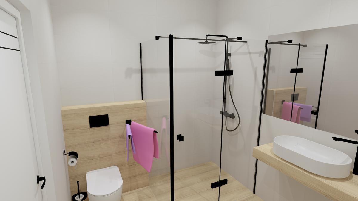 Jasna łazienka z drewnianymi akcentami - zdjęcie od BLU salon łazienek Chełm