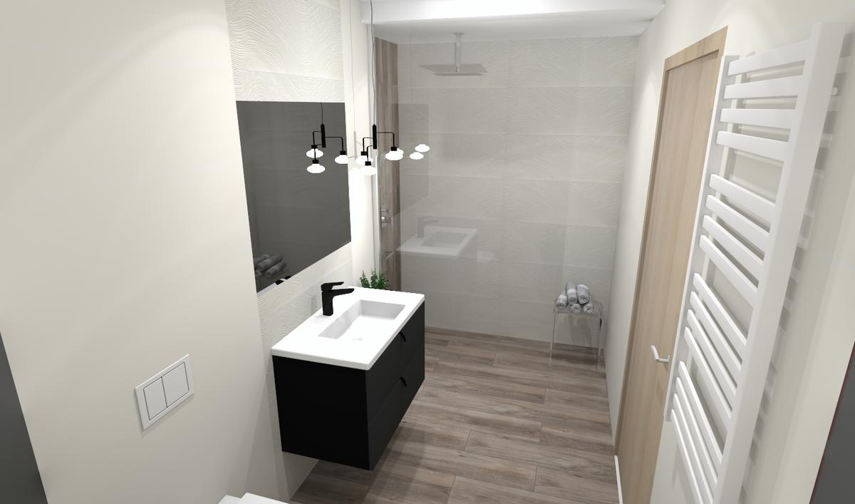 Jasna łazienka z kabiną Walk-In - zdjęcie od BLU salon łazienek Bielsko-Biała