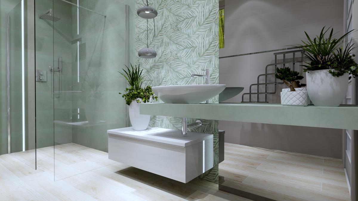 Jasna łazienka z motywem palm - zdjęcie od BLU salon łazienek Ostrowiec Świętokrzyski
