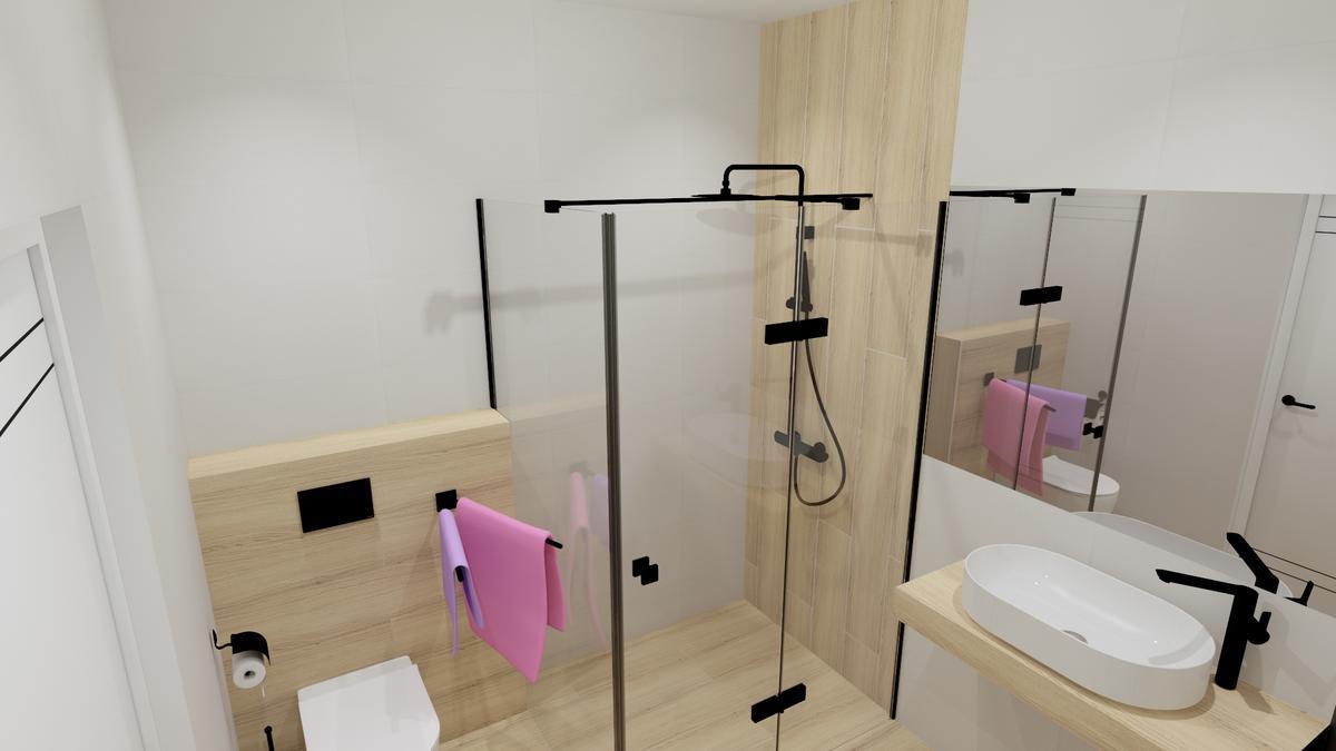 Kabina prysznicowa typu Walk-In w projekcie jasnej łazience - zdjęcie od BLU salon łazienek Chełm