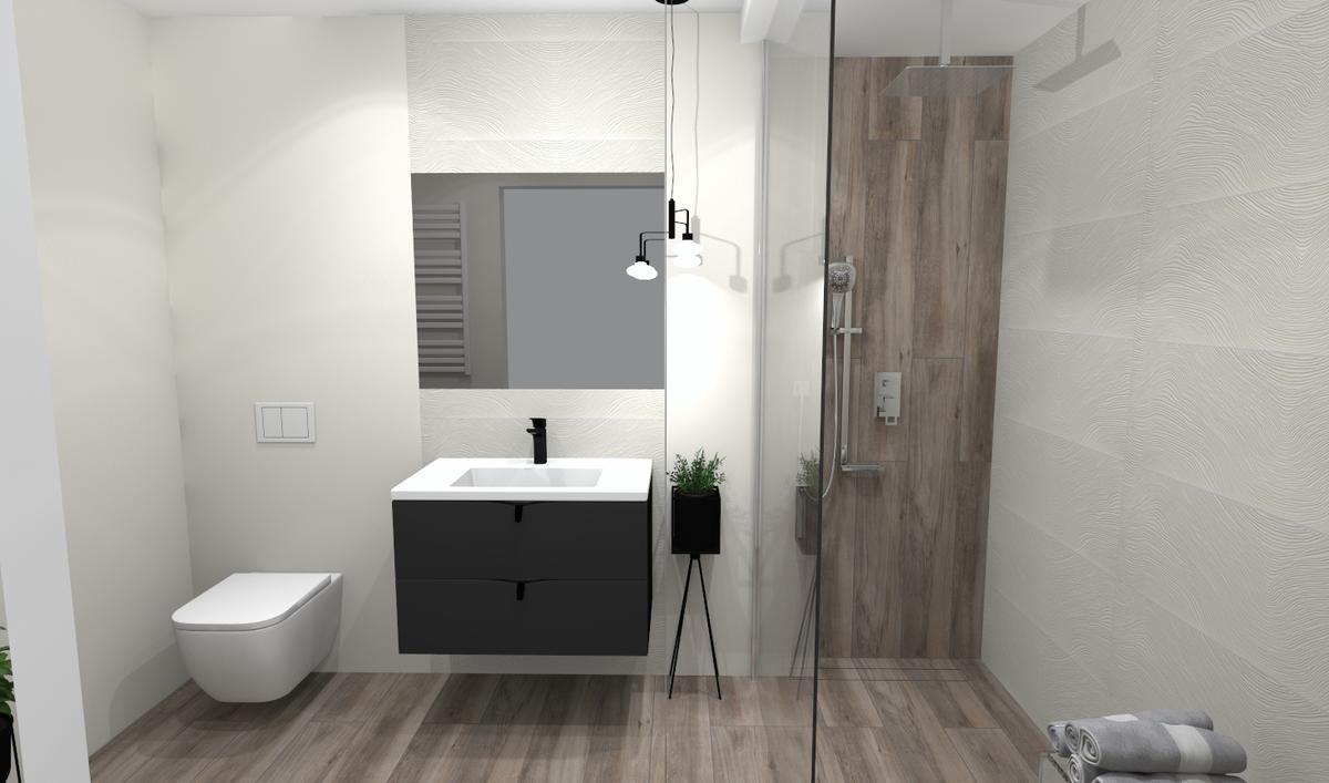 Kabina prysznicowa Walk-In w małej łazience - zdjęcie od BLU salon łazienek Bielsko-Biała