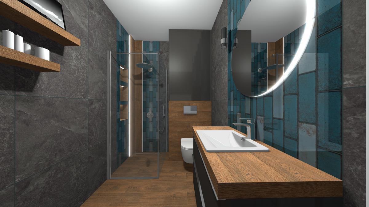 Kabina Walk-In w długiej, wąskiej łazience - zdjęcie od BLU salon łazienek Krosno