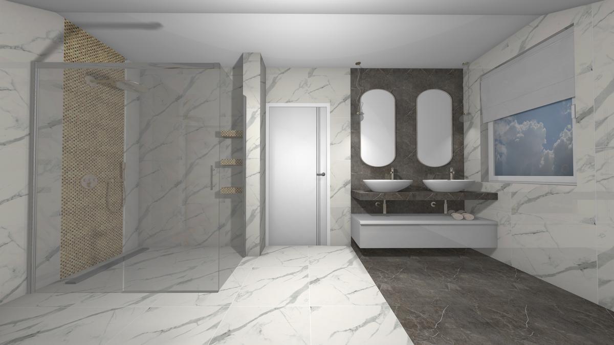 Kabina Walk-In w łazience z marmurem - zdjęcie od BLU salon łazienek Krosno