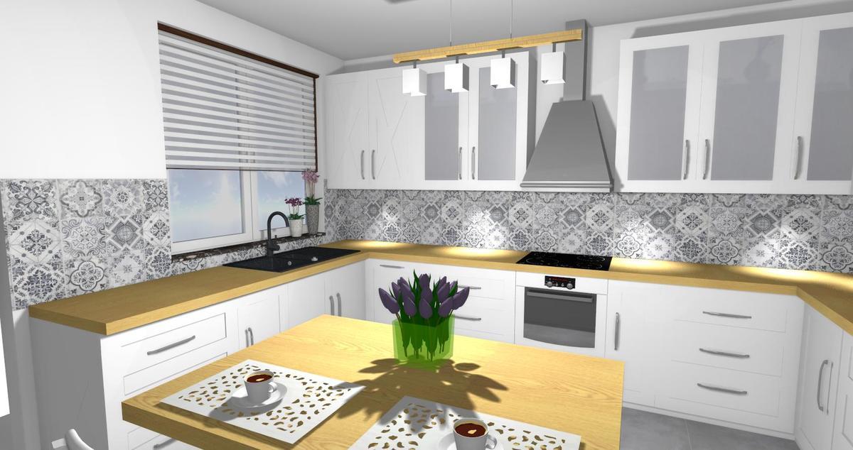Kuchnia z patchworkowym akcentem - zdjęcie od BLU salon łazienek Lębork