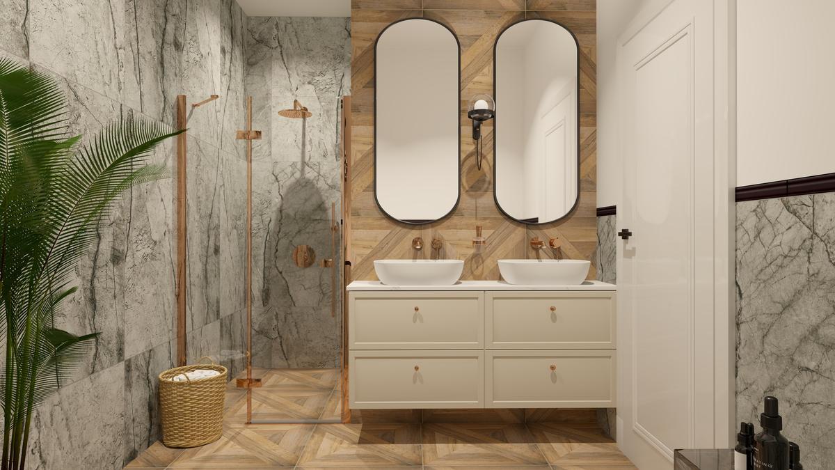 Łazienka dla dwojga w marmurowych szarościach i drewnie - zdjęcie od BLU salon łazienek Suwałki