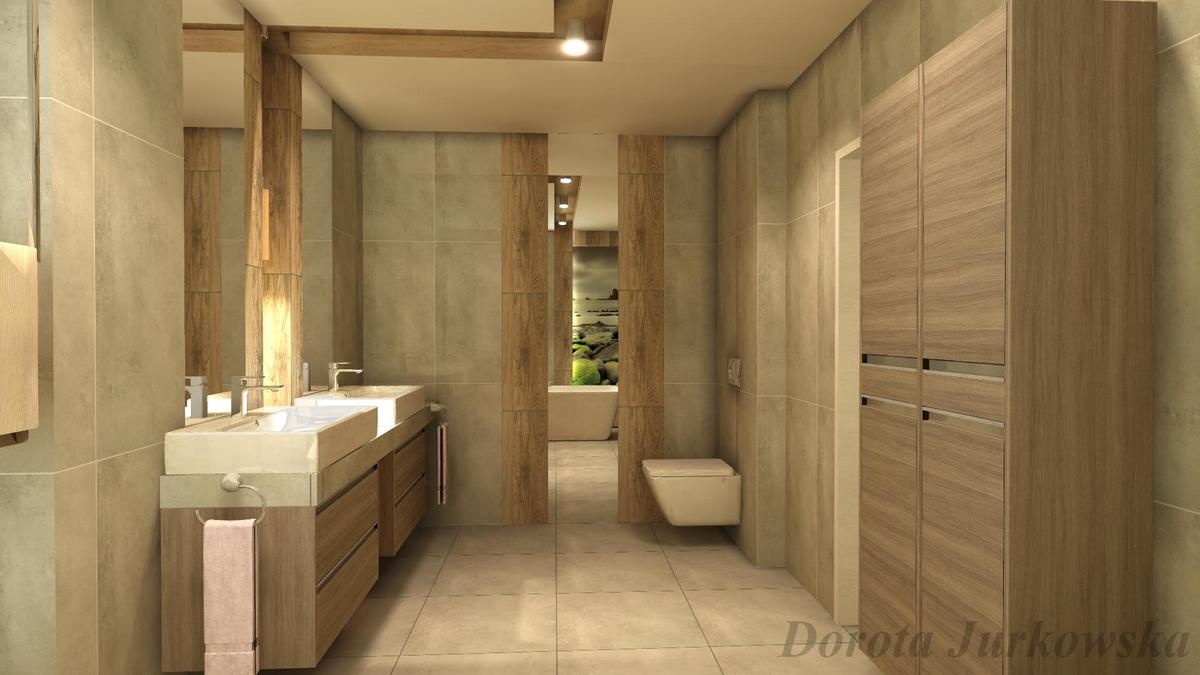 Łazienka dla dwojga z płytką drewnopodobną - zdjęcie od BLU salon łazienek Iława