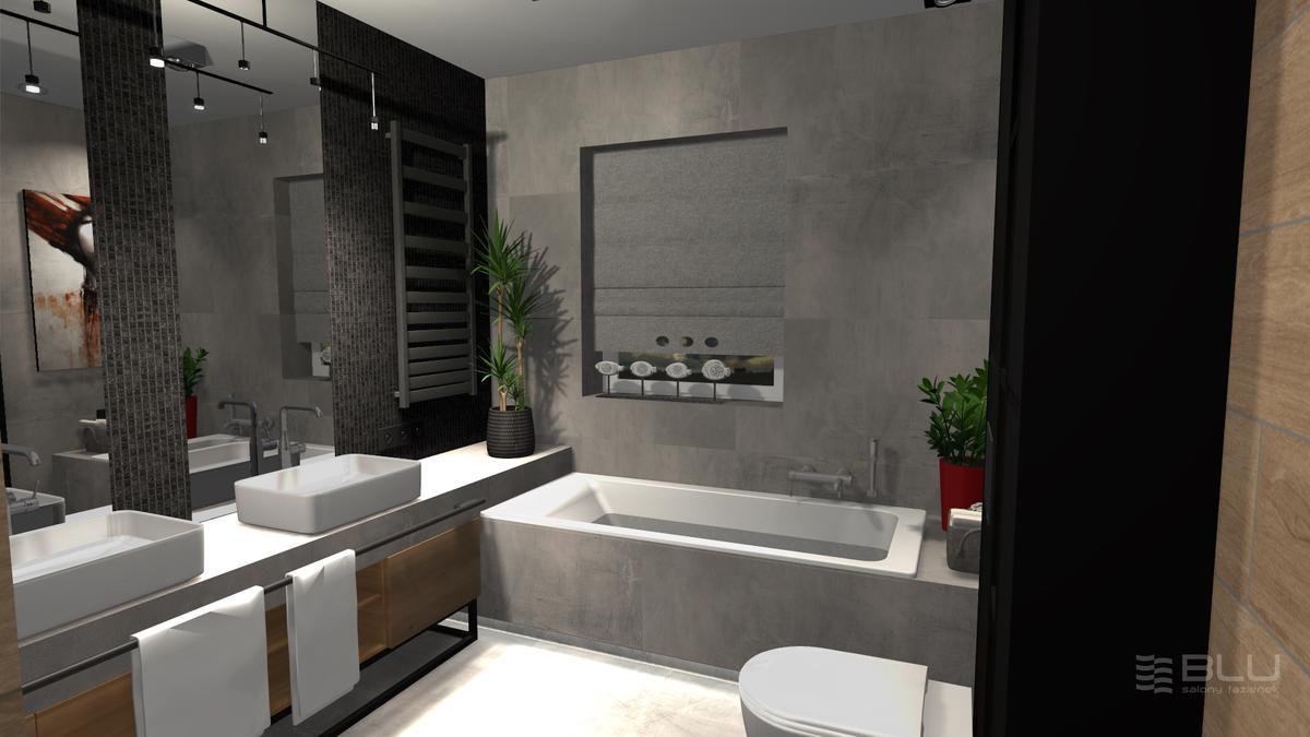 Łazienka dla pary w szarościach Paradyż Space grafit mat - zdjęcie od BLU salon łazienek Zamość