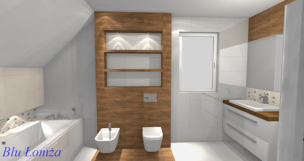 Łazienka drewnopodobna, projekt łazienki, aranżacja Salonu Blu Łomża - zdjęcie od BLU salon łazienek Łomża