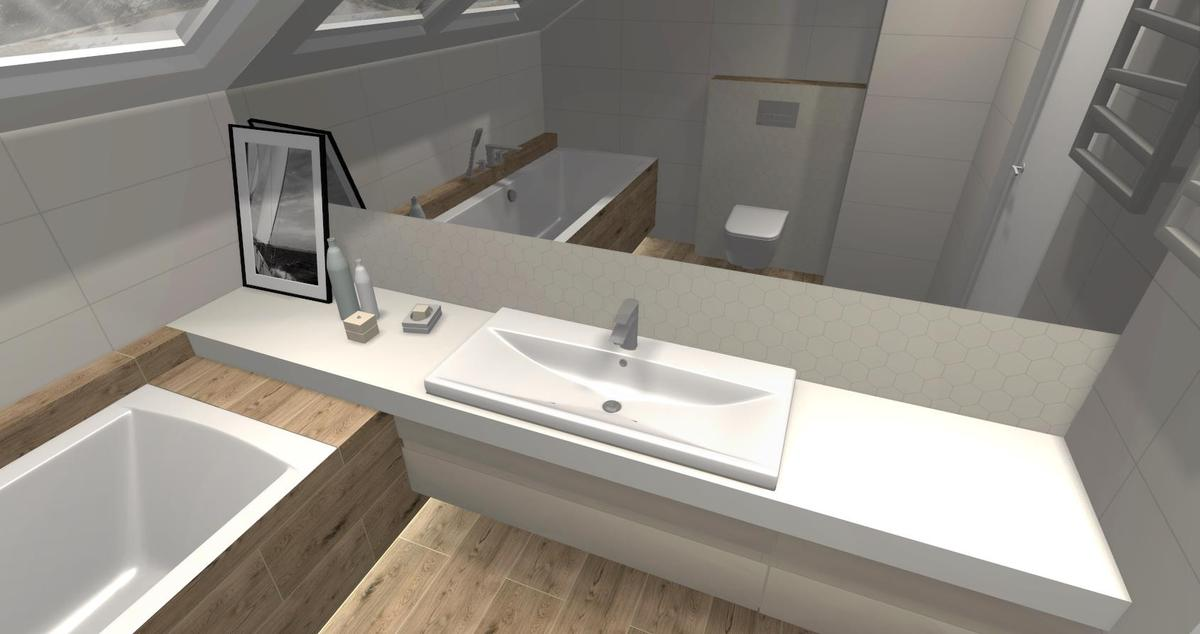 Łazienka  na poddaszu w bieli i drewnie - zdjęcie od BLU salon łazienek Skierniewice