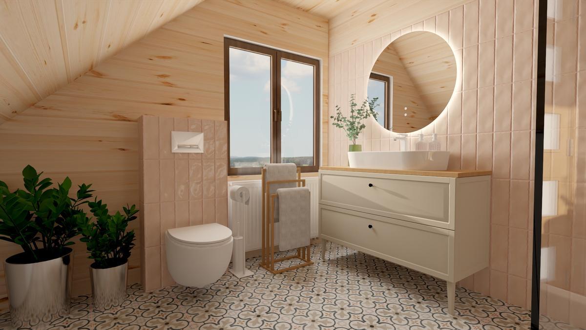 Łazienka pod skosami w łagodnych odcieniach płytek Paradyż Fiori Coral - zdjęcie od BLU salon łazienek Suwałki