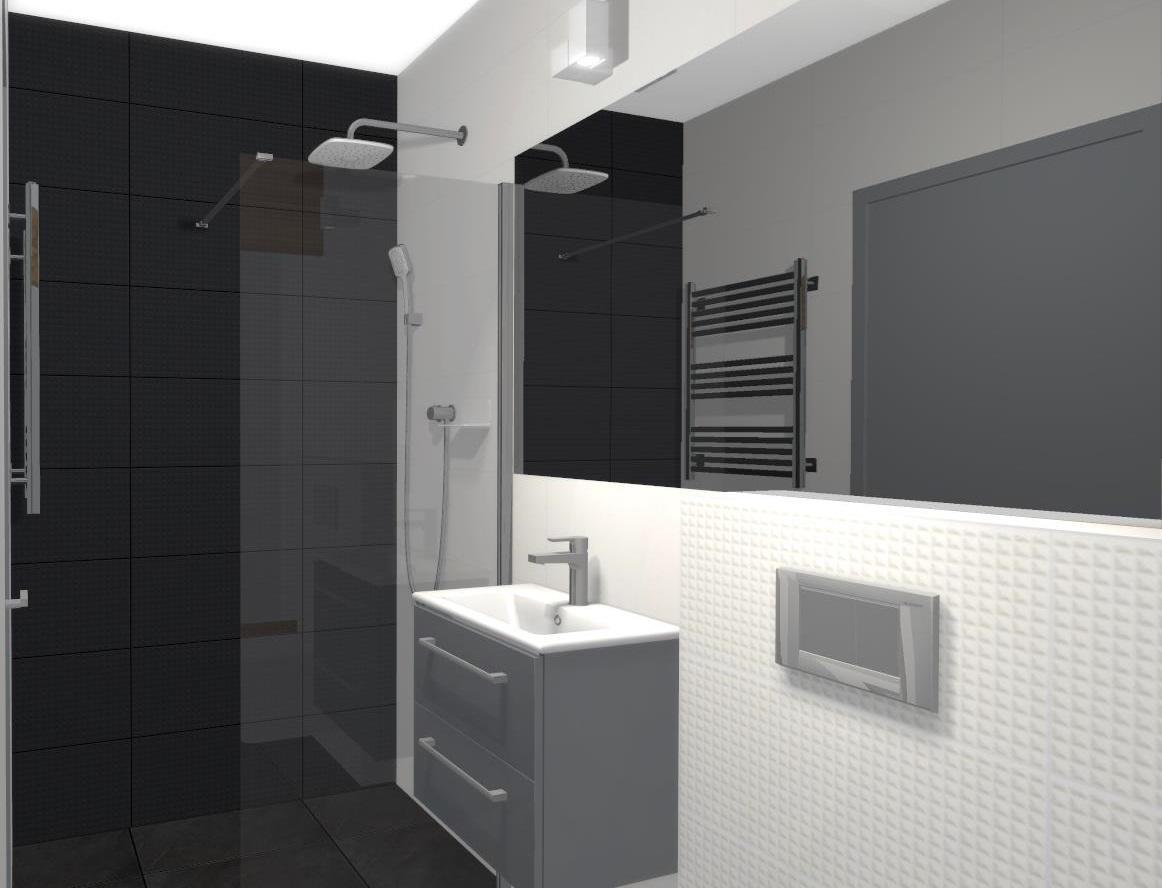 Łazienka w aranżacji bieli i czerni - zdjęcie od BLU salon łazienek Poznań