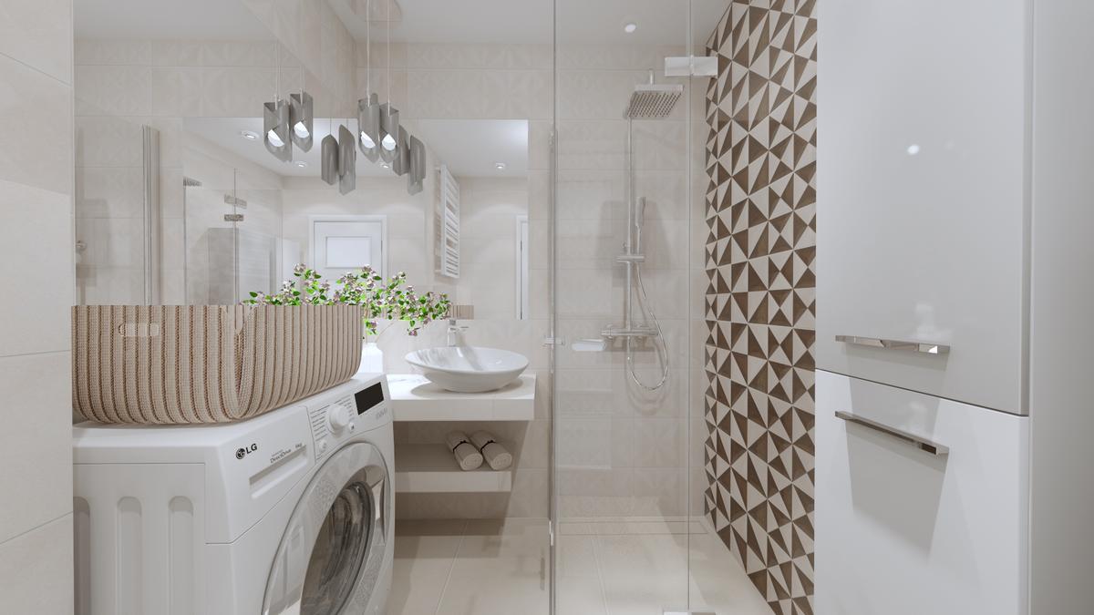 Łazienka w beżu - Opoczno Geometrica - zdjęcie od BLU salon łazienek Ostrowiec Świętokrzyski