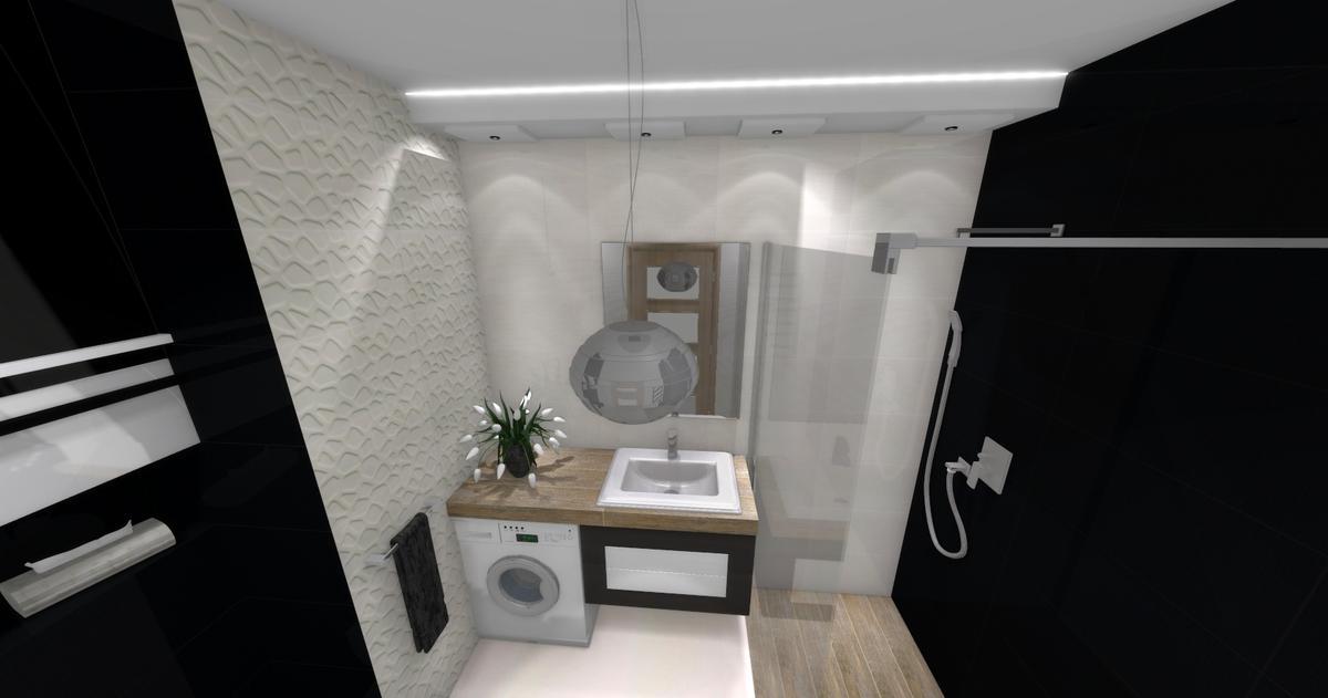 Łazienka w bieli i czerni - projekt łazienki BLU salon łazienek Dębica - zdjęcie od BLU salon łazienek Dębica