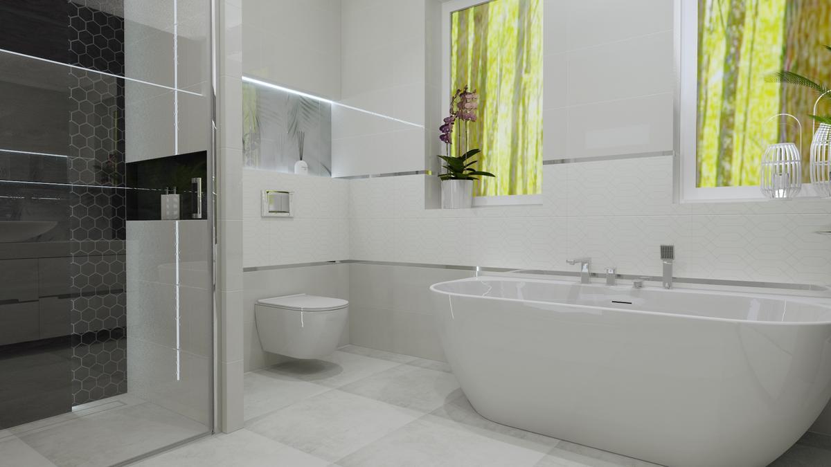 Łazienka w bieli ze srebrnymi dodatkami - zdjęcie od BLU salon łazienek Ostrowiec Świętokrzyski