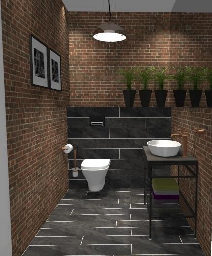 Łazienka w cegle - zdjęcie od BLU salon łazienek Gniezno