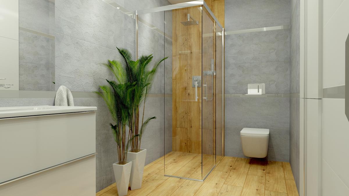 Łazienka w drewnie i szarości - zdjęcie od BLU salon łazienek Ostrowiec Świętokrzyski