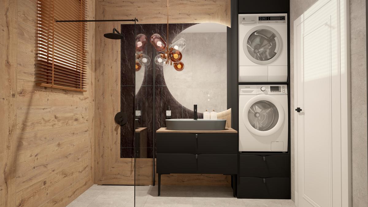 Łazienka w jasnym drewnie z pralką i suszarką - zdjęcie od BLU salon łazienek Suwałki