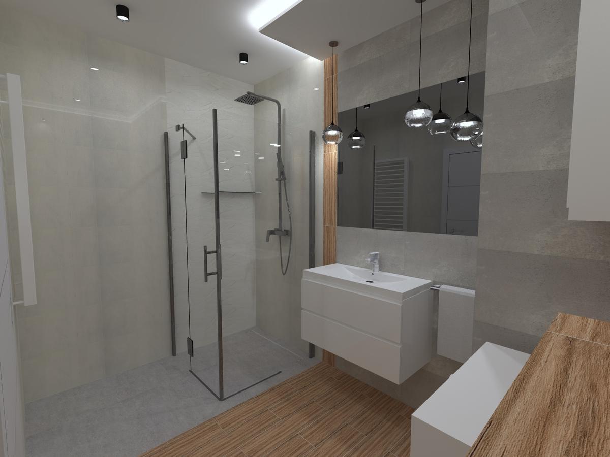 Łazienka w połączeniu drewna i betonu  - zdjęcie od BLU salon łazienek Inowrocław