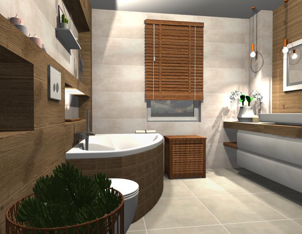 Łazienka w szarości i drewnie  - zdjęcie od BLU salon łazienek Płońsk