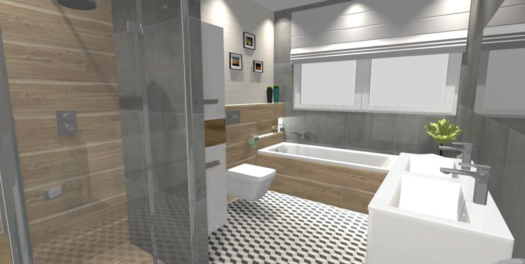 Łazienka w szarości przełama na drewnem i bielą - zdjęcie od BLU salon łazienek Gniezno