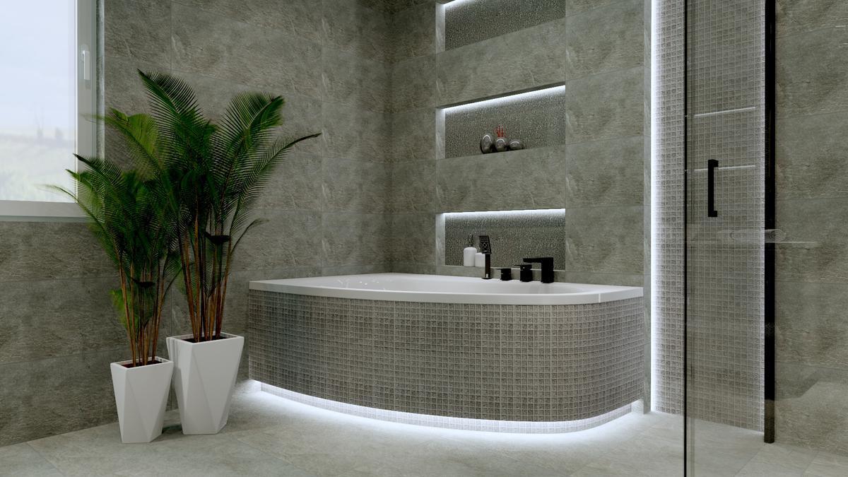 Łazienka w szarościach - zdjęcie od BLU salon łazienek Ostrowiec Świętokrzyski
