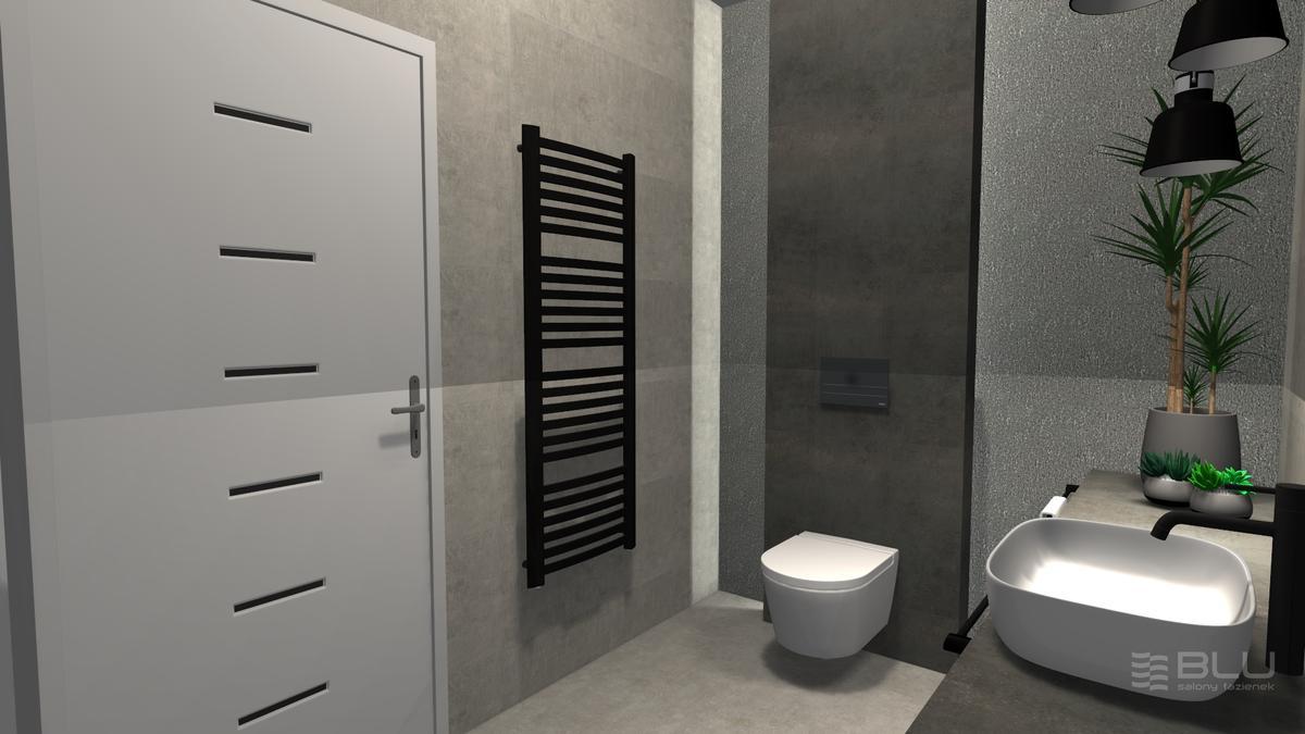 Łazienka z ciemnoszarą płytką Cersanit Dern graphite rust lappato - zdjęcie od BLU salon łazienek Zamość