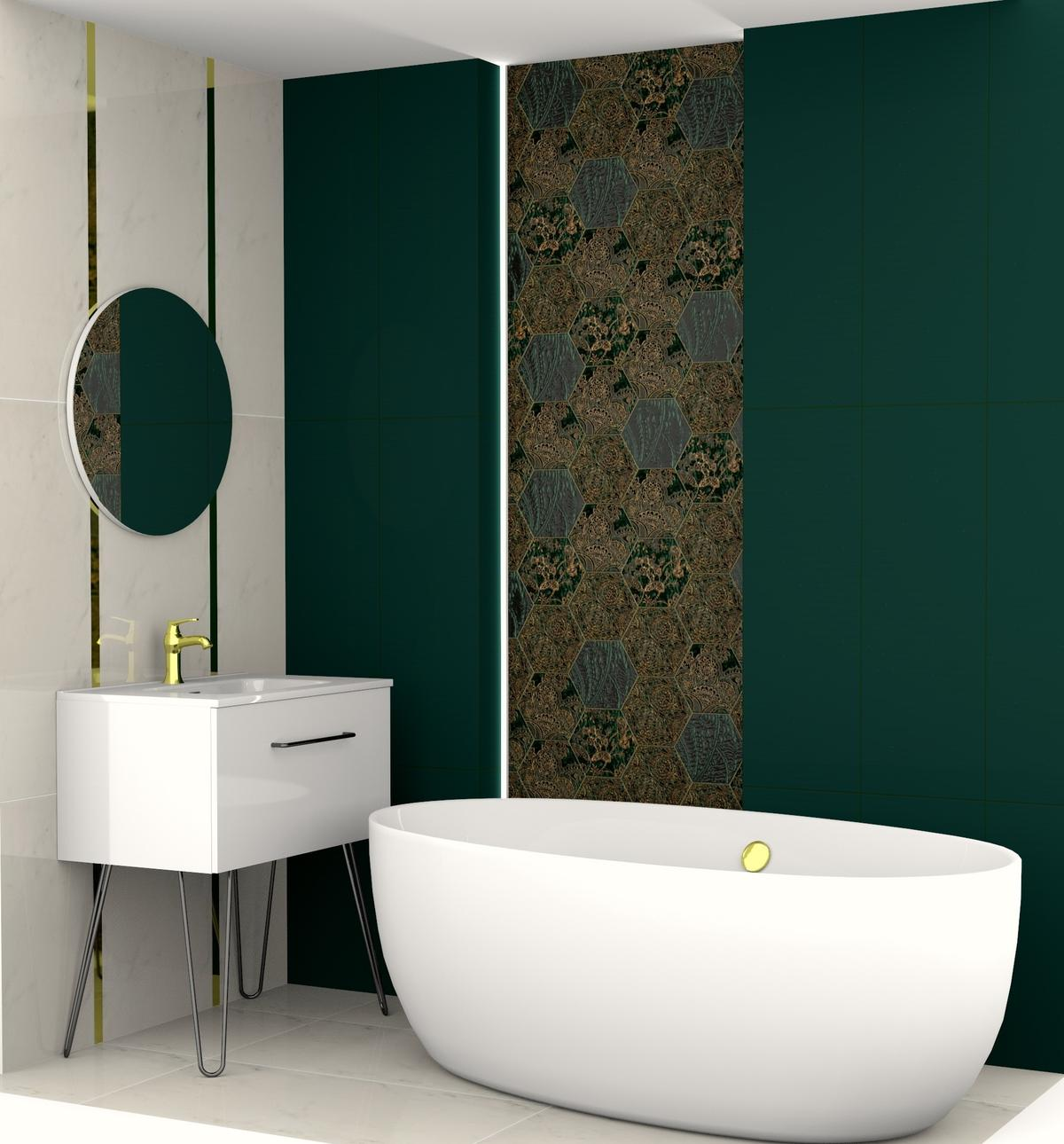 Łazienka z mocnymi akcentami zieleni i złota - zdjęcie od BLU Salon Łazienek Tarnobrzeg