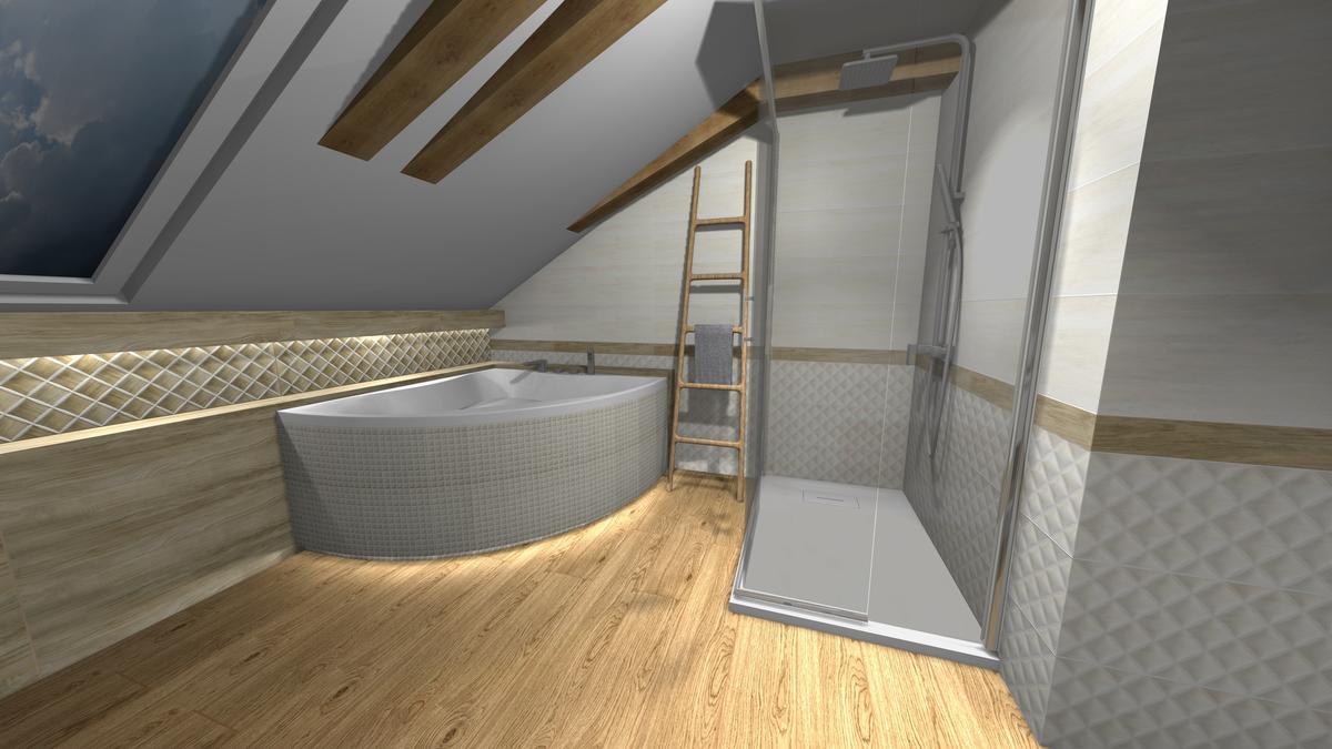 Łazienka z oknem w drewnie - zdjęcie od BLU salon łazienek Krosno