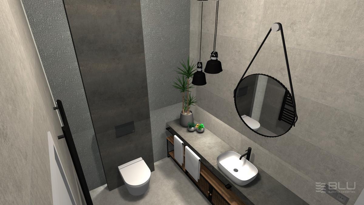 Łazienka z płytką imitująca beton Cersanit Divena grys matt - zdjęcie od BLU salon łazienek Zamość