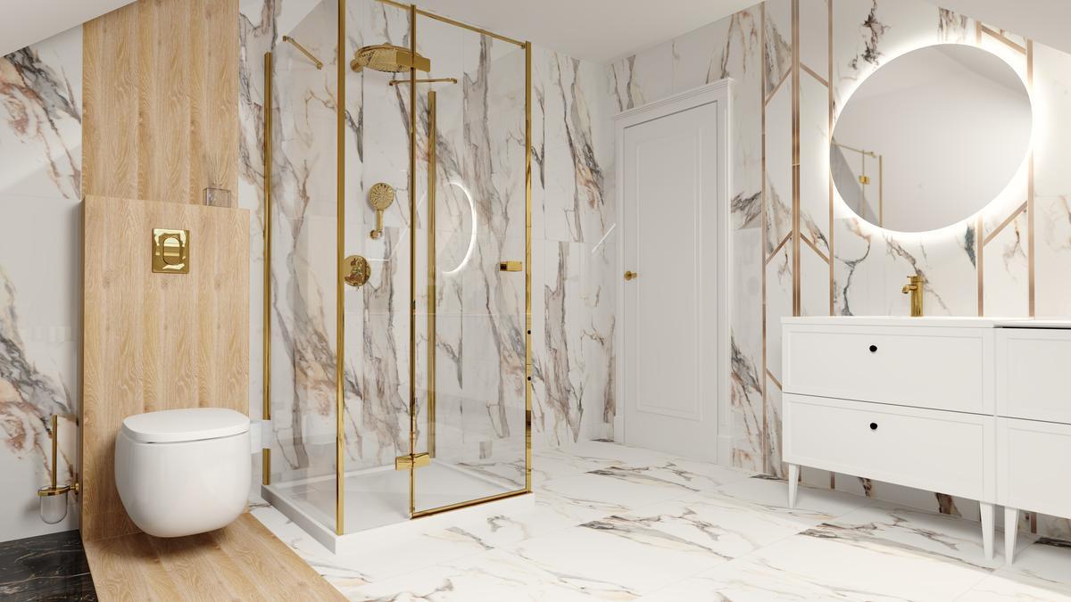 Maksymalistyczna łazienka w marmurze, drewnie i złocie - zdjęcie od BLU salon łazienek Suwałki