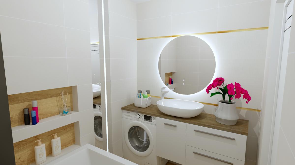 Mała łazienka w bieli i drewnie - zdjęcie od BLU salon łazienek Chełm