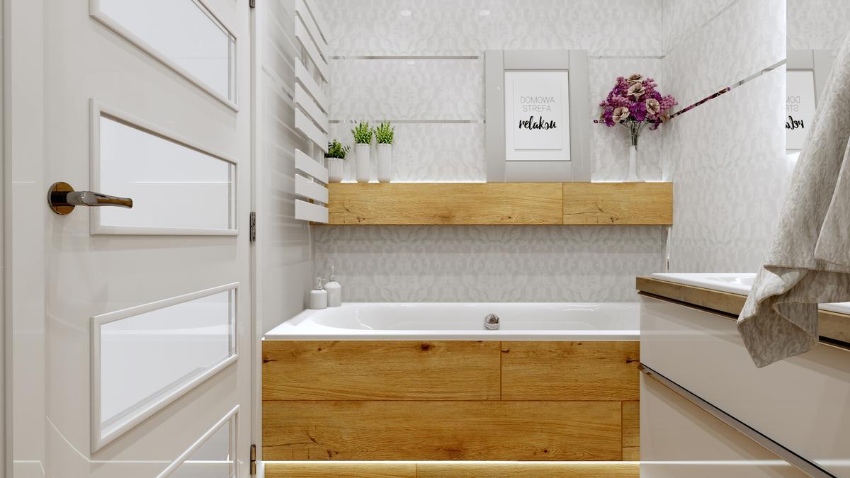 Mała łazienka w bieli z elementami drewna - zdjęcie od BLU salon łazienek Ostrowiec Świętokrzyski