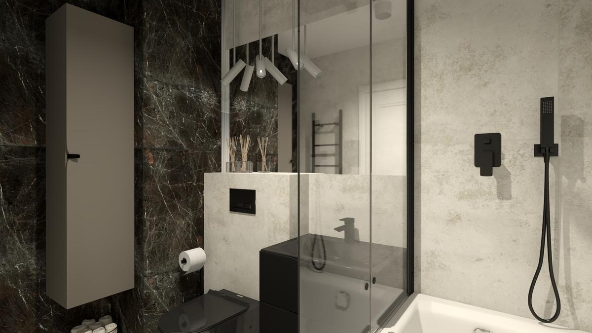 Mała łazienka w kamieniu - zdjęcie od BLU salon łazienek Suwałki