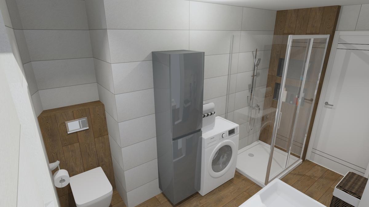 Mała łazienka w szarości i drewnie - zdjęcie od BLU salon łazienek Chełm