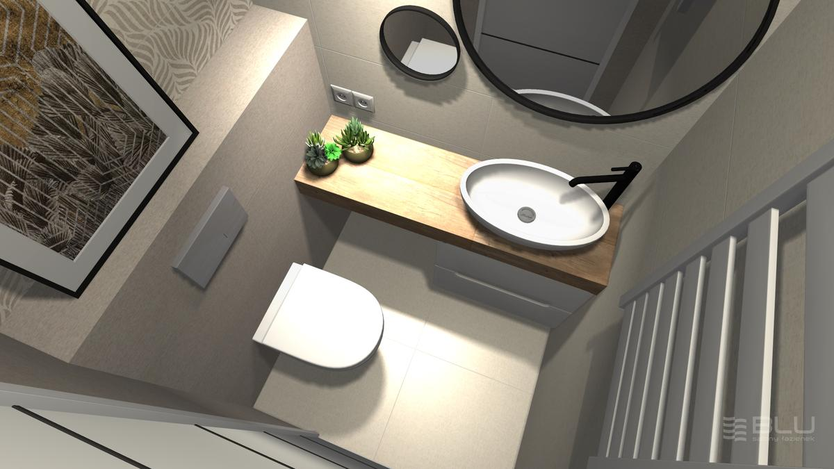 Mała łazienka z beżowymi i szarymi płytkami Paradyż Symetry - zdjęcie od BLU salon łazienek Zamość