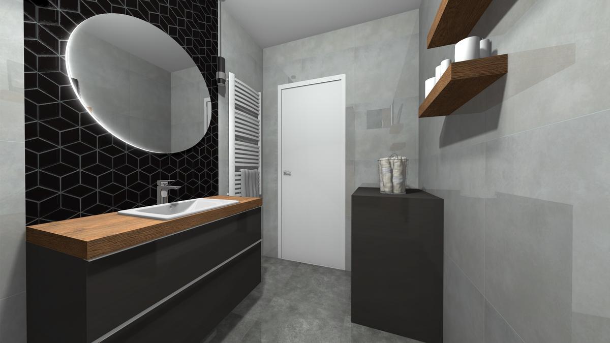 Mała łazienka z szarą płytką - zdjęcie od BLU salon łazienek Krosno