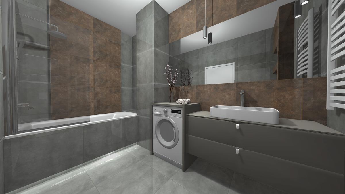 Mała łazienka z wanną i prysznicem - zdjęcie od BLU salon łazienek Krosno