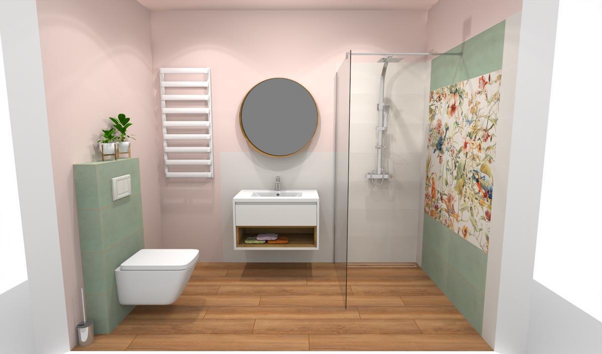 Minimalistyczna łazienka z ozdobną ścianą w kwiaty - zdjęcie od BLU salon łazienek Bielsko-Biała