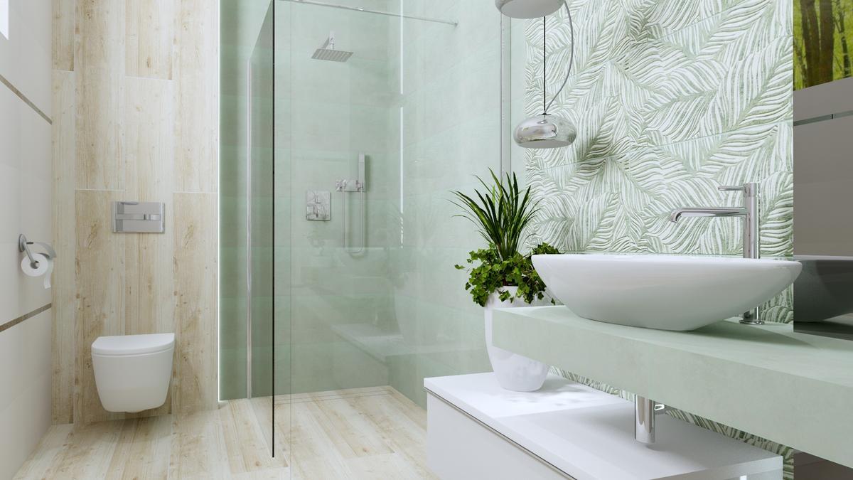Naturalna łazienka z motywem drewna i roślin - zdjęcie od BLU salon łazienek Ostrowiec Świętokrzyski