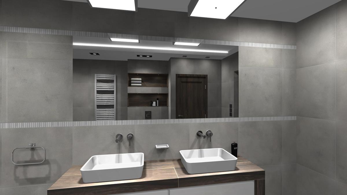 Nowoczesna aranżacja łazienki z dużym lustrem - zdjęcie od BLU salon łazienek Cieszyn