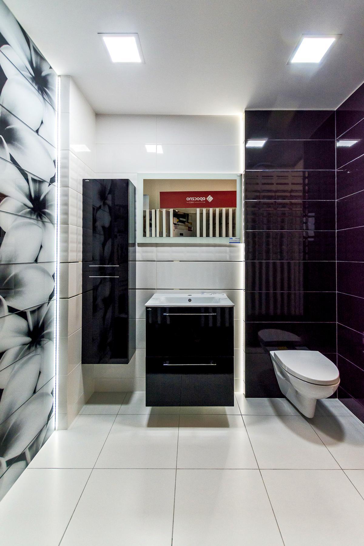 Nowoczesna czarno-biała łazienka - zdjęcie od BLU salon łazienek Giżycko