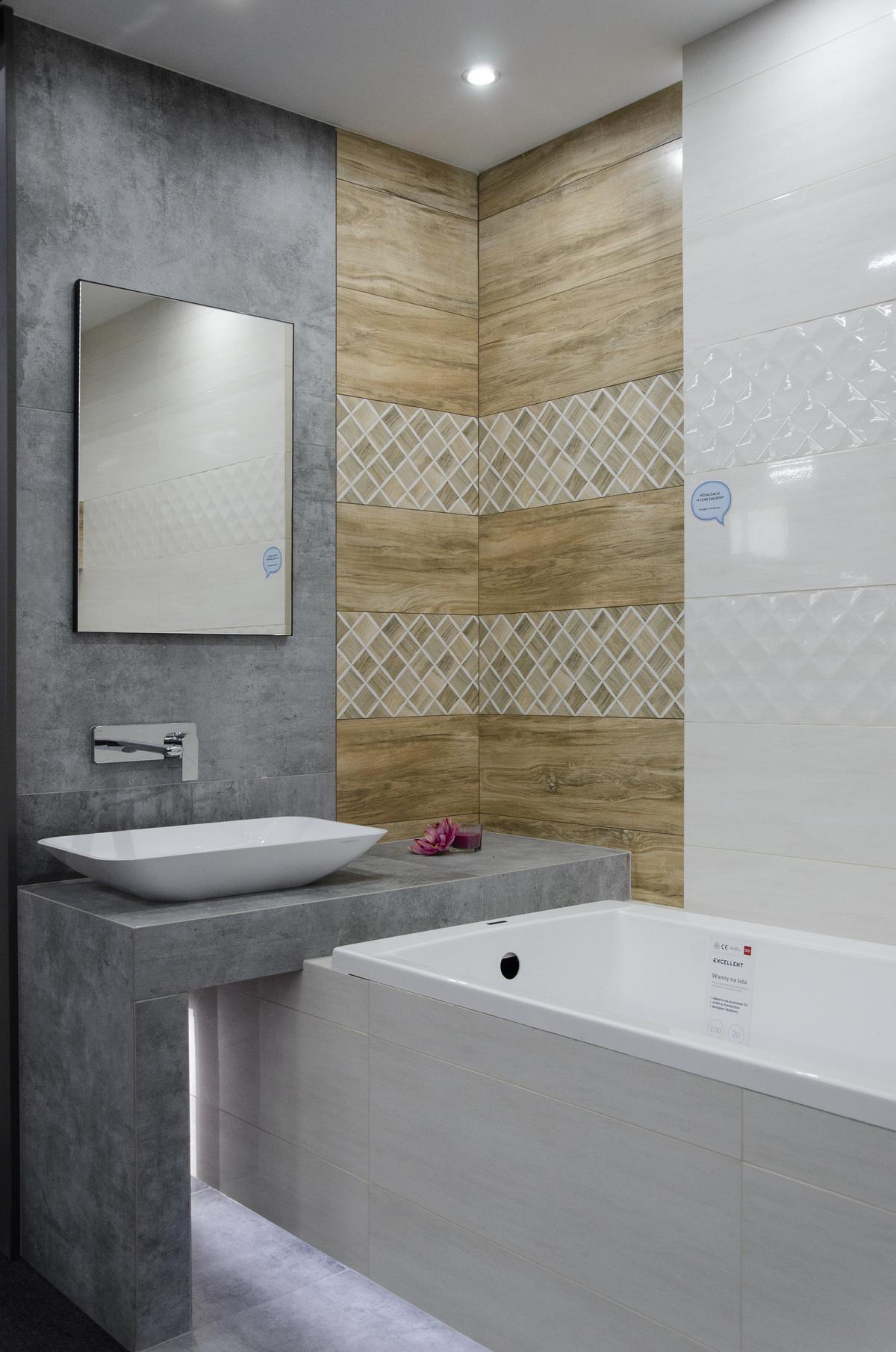 Nowoczesna łazienka z połączeniem wielu struktur - zdjęcie od BLU salon łazienek Skierniewice