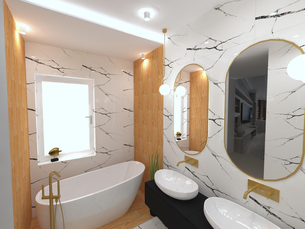 Nowoczesna łazienka ze złotymi dodatkami - zdjęcie od BLU salon łazienek Inowrocław